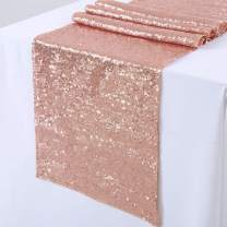 TRLYC 12x108-Inch Rectangle-Rose Gold-Sequin Table Runners- for Wedding/Party/Decor (Pack 6)