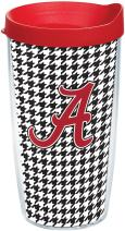 Tervis 1081004 Alabama Crimson Tide Houndstooth Tumbler with Wrap and Red Lid 16oz, Clear