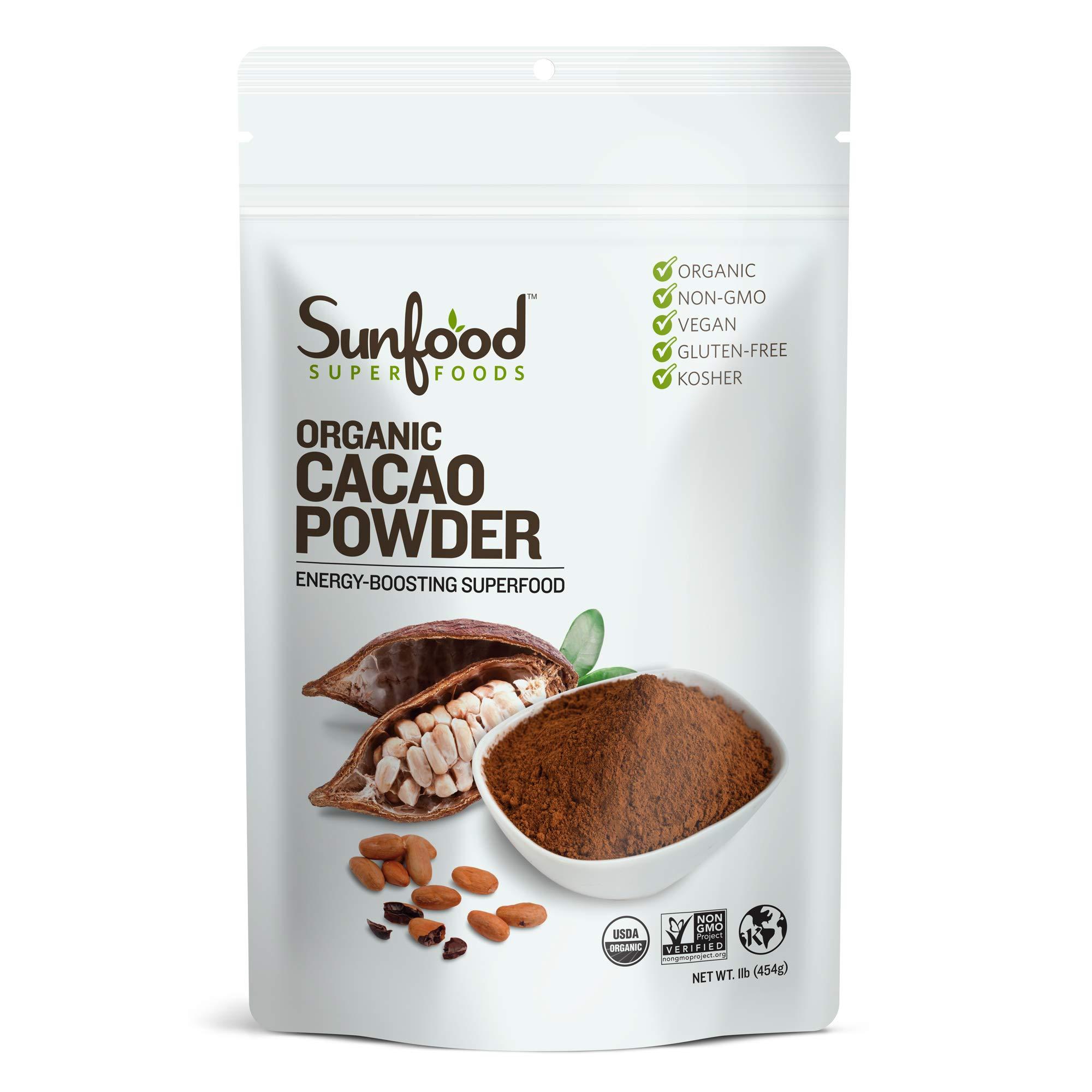 Sunfood Superfoods Cacao Powder- Pure Raw Organic. 1 lb Bag
