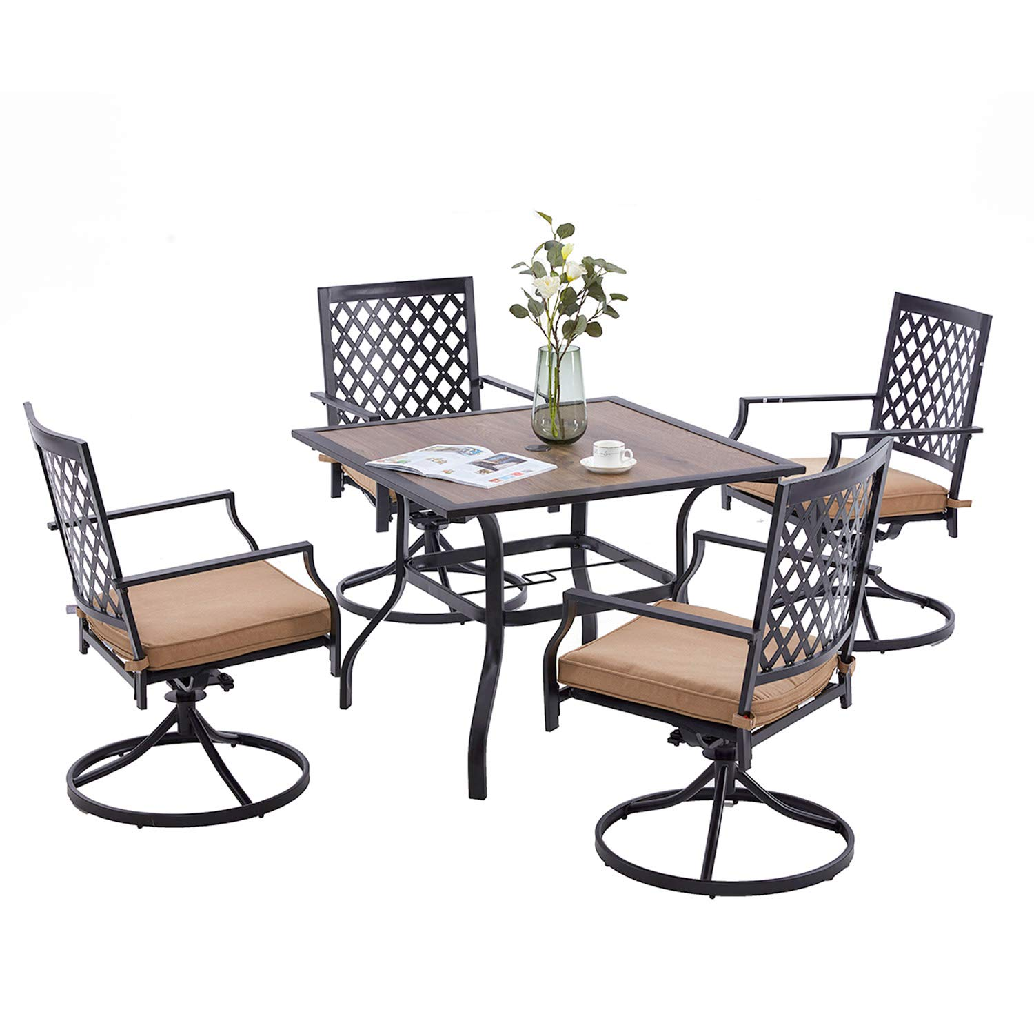 VICLLAX 5 Piece Patio Dining Set, 4 Swivel Outdoor Dining Chairs with Cushion and 1 Square Patio Dining Table, Walnut