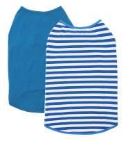 Wolspaw 2-Pack Dog Shirt 100% Cotton Striped Dogs Boy Girl Soft Blank T Shirts Pet Clothes,Royal Blue-White L