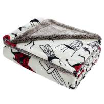 """uxcell Reversible Soft Plush Fleece Blanket Twin Size with Berber Reverse,Luxury Decorative Velvet Blanket with Cat & Chair Pattern for Couch/Bed,59"""" x 78"""",White"""
