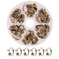 PandaHall Elite 36 Pcs Brass Clip-on Earring Converter Component 17x14x7mm for Non-Pierced Ears Antique Bronze