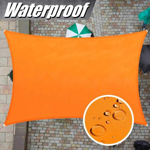 ColourTree 7' x 12' Orange TADR0712 Rectangle Waterproof Sun Shade Sail Canopy Awning Shelter Fabric, 95% UV Blockage UV & Water Resistant, Outdoor Patio Garden Carport (We Make Custom Size)