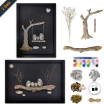 Bingo Castle Wall Art for Living Room - Set of 2 DIY Framed Rock Painting Kit 3D Canvas Wall Art Decor 17.7 x 12.9 Inches
