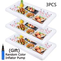 Inflatable Serving Bar, Buffet Cooler with drain plug - Salad Picnic Ice Food Server - Luau Pool Hawaiian Party Supplies 3PCS