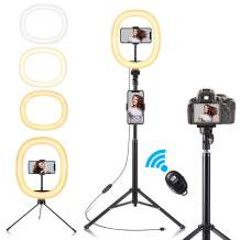 """Fuloon 10"""" LED Ring Light with Tripod Stand & 2 Phone Holder Selfie Ring Light USB Powered with Dimmable 3 Light Modes & 10 Brightness Level for YouTube/Instagram/Video/Photography/Live Streaming"""