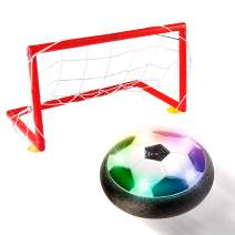 MONILON Kids Toys, Hover Soccer Ball Goal Set [2 Gates], Air Power Football Toys for Kids Boys Girls Ages 3 4 5 6 7 8 9 + Years Old Indoor and Outdoor Sport Games with LED Lights for Kids Gifts