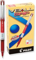 PILOT VBall Grip Liquid Ink Rolling Ball Stick Pens, Extra Fine Point, Red Ink, 12 Count (35472)