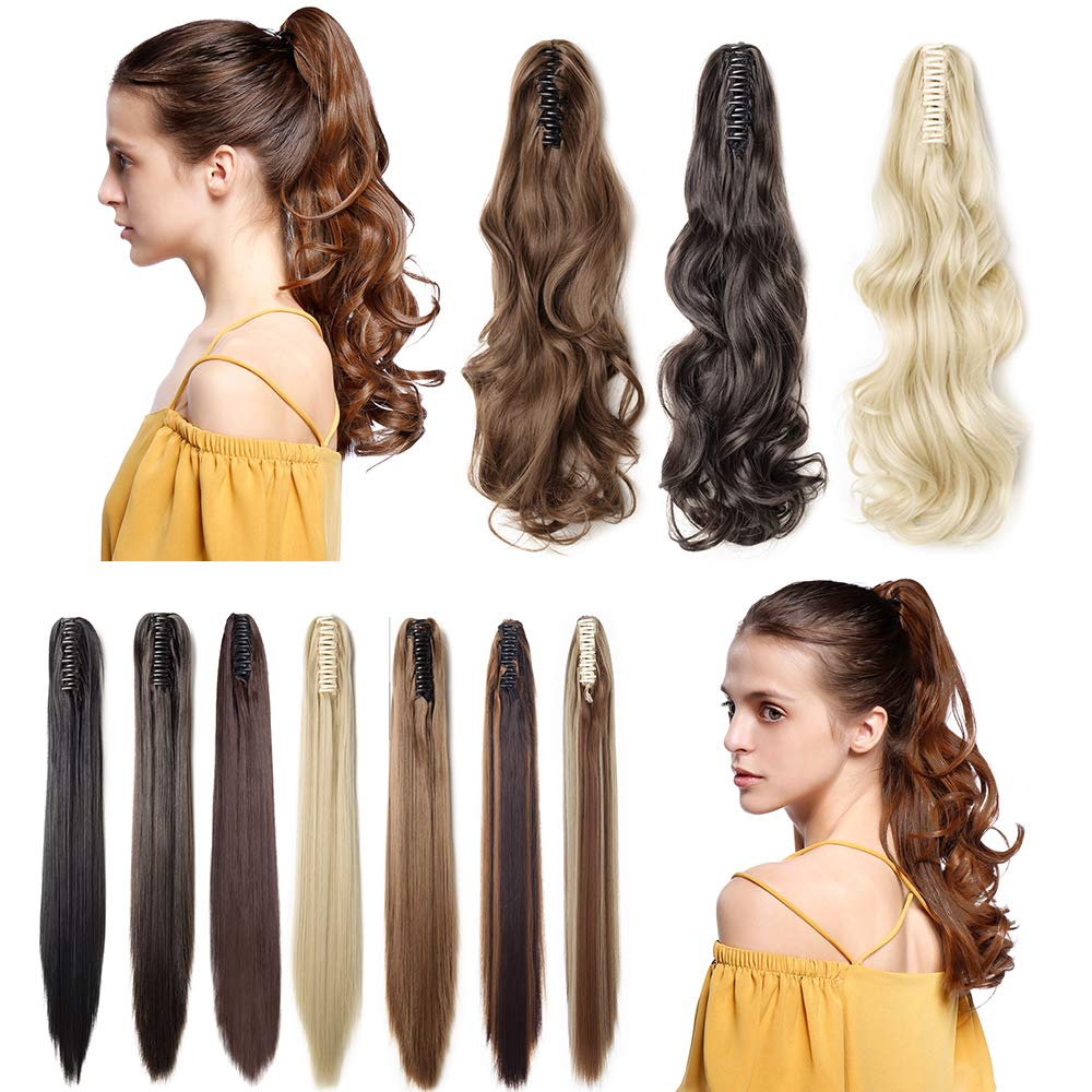 Claw Ponytail Extension Short Curly Wave 145G Thick Jaw Ponytails Pony Tail Hairpiece Clip in Hair Extensions Real Natural as Human Synthetic Fibre for Women 18 inch natural black