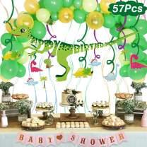 Dinosaur Birthday Party Supplies Favors, Dinosaur Hanging Swirl Decorations, Balloon and Dinosaur Birthday Banner Set, Happy Birthday for Girls Kids Childrens Toddlers