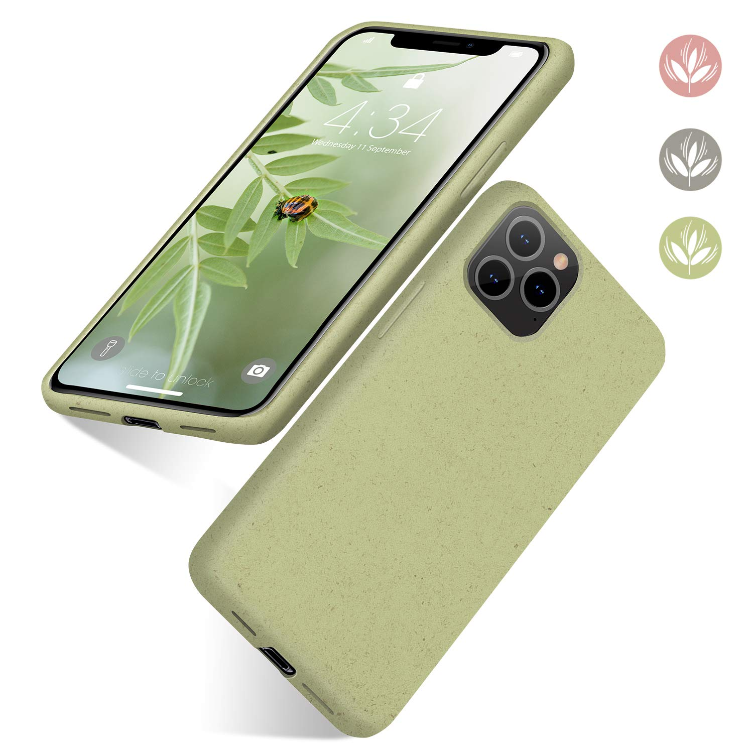 """abitku Eco-Friendly iPhone 11 Pro Max Case, Biodegradable Ultra Slim Fit Straw Phone Cases Soft Protective Back Cover for iPhone 11 Pro Max 6.5"""" 2019-Light Green"""