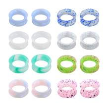 Jewseen 16Pcs Silicone Ear Gauges Flexible Flesh Tunnels Plugs Ear Piercing Jewelry 6g-1''Mixed Color Set