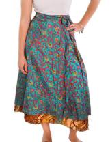 Darn Good Yarn Recycled Ankle Sari Wrap Skirt for Women - Eco-Friendly Material