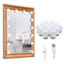 LED Makeup Vanity Mirror Lights, 14 Bulbs USB Dimmable Hollywood Style Cosmetic Mirror Lighting Kit with 3 Color Modes for Dressing Room Tabletop Bedroom (Mirror Not Include)