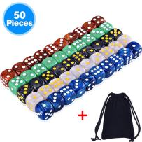 AUSTOR 50 Pieces 6 Sided Game Dice Set 5 Pearl Colors Rounded Edges Dice with a Free Pouch