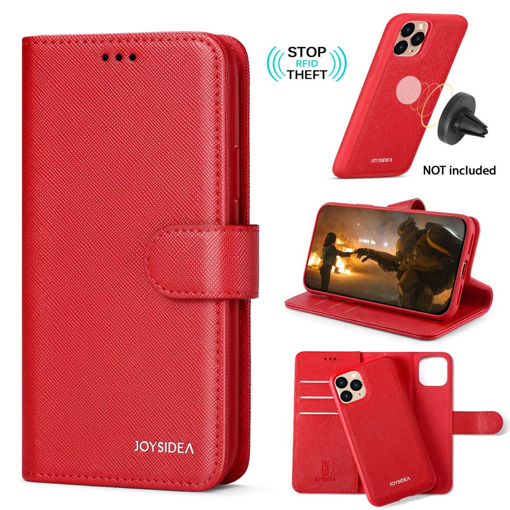 """JOYSIDEA 2-in-1 iPhone 11 Pro Wallet Case Magnetic Detachable for Women, Slim Vegan Leather Flip Folio Case with Card Holder, RFID Protection & Kickstand, Fit Car Mount for iPhone 11 Pro 5.8"""", Red"""