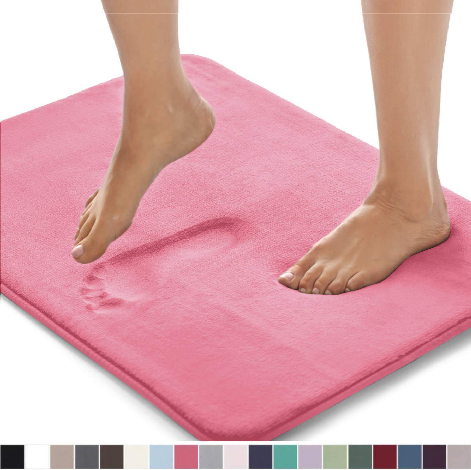 Gorilla Grip Original Thick Memory Foam Bath Rug, 60x24, Cushioned, Soft Floor Mats, Absorbent Premium Bathroom Mat Rugs, Machine Washable, Luxury Plush Comfortable Carpet for Bath Room, Hot Pink