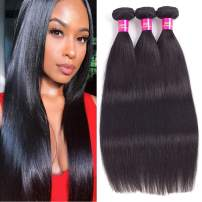 """Brazilian Straight Human Virgin Hair 3 Bundles 14""""14""""14"""" 100g/bundle Soft And Silky Natural Black Color 8A Grade 100% Unprocessed Brazilian Virgin Hair Soft And Silky Double Machine Weft Tangle Free"""