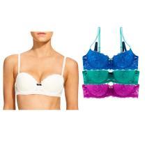 Undies.com Women's Lace Balconette Push-up Bra 3 Piece Pack