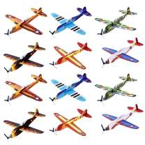 Kicko Flying Glider Planes - Toys for Party, Kids and All Ages - Hand Launch - Easy Assembly - Styrofoam Assorted, 8 Inch - Set of 12