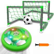 AOKESI Kids Toys Hover Soccer Ball Set with 2 Goal & 1 Kids Soccer Ball, LED Light Soccer Games, Hover Toys with Foam Bumper for Indoor Games, Toddler Boy Toys Gifts for 2 -13 Year Old Boys Girls Toys