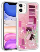 Wollony for iPhone 11 Case for Women Girls Cute Funny Eye Shadow Jigsaw Puzzle Makeup Bling Glitter Liquid Heavy Duty Shockproof Protective Cover Soft TPU Bumper Hard Back for iPhone 11 6.1inch Pink