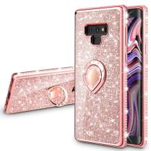 VEGO Galaxy Note 9 Case Glitter with Ring Holder Kickstand for Women Girls Bling Diamond Rhinestone Sparkly Bumper Fashion Shiny Cute Protective Case for Galaxy Note 9(Rose Gold)