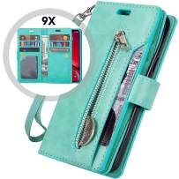 iPhone 11 Pro Wallet Case with Strap for Women/Men,Auker Trifold 9 Card Holder Folio Flip Book Leather Heavy Duty Full Body Protective Magnet Zipper Pocket Case w/Kickstand for iPhone 11Pro (Mint)