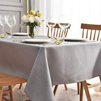 maxmill Jacquard Table Cloth Waving Pattern Water Resistant Wrinkle Resistance Oil Proof Heavy Weight Soft Tablecloth for Kitchen Dinning Tabletop Decoration Oblong 60 x 140 Inch Light Grey