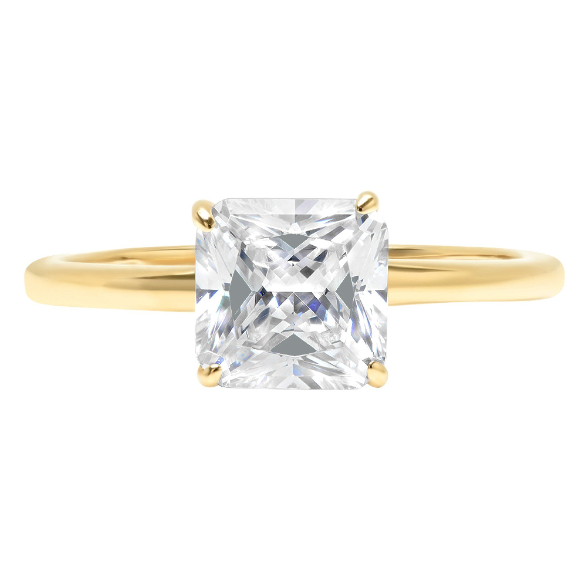 1.0 ct Brilliant Asscher Cut Solitaire Highest Quality Lab Created White Sapphire Ideal VVS1 D 4-Prong Engagement Wedding Bridal Promise Anniversary Ring Solid Real 14k Yellow Gold for Women