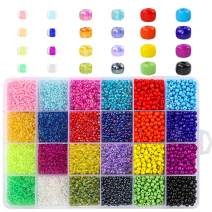 15200pcs Glass Seed Beads Assorted Size (2mm, 3mm, 4mm) 24 Colored Loose Bead Spacer Beads with Plastic Storage Box for Jewelry Making