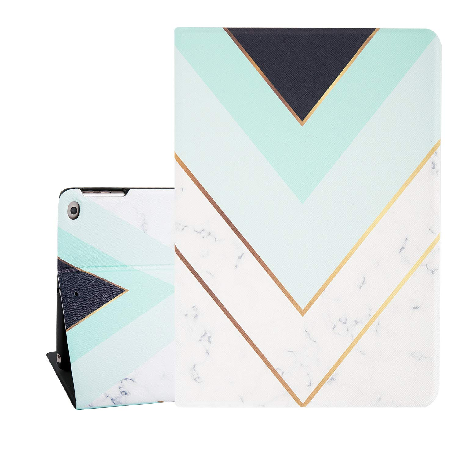 Hi Space White Marble iPad Air 9.7 Case, Golden Mint Green Black Stripes Smart Tablet Case for iPad Air 1/2 5th/6th Gen 2017/2018 Auto Sleep Wakeup