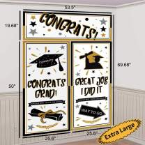 Graduation Backdrop Banner Party Decorations Supplies 2020- Extra Large Grad Congrats Photo Booth Wall Party Decor (69.68 inches x 53.5 inches)