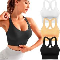 3 Pack Sports Bra for Women Sexy Crisscross Back High Impact Sports Bras Yoga Bra Workout Fitness with Adjustable Multipack