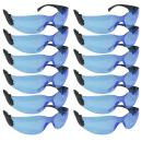 SAFE HANDLER Protective Safety Glasses, Blue Polycarbonate Impact and Ballistic Resistant Lens - Black Temple (Box of 12)