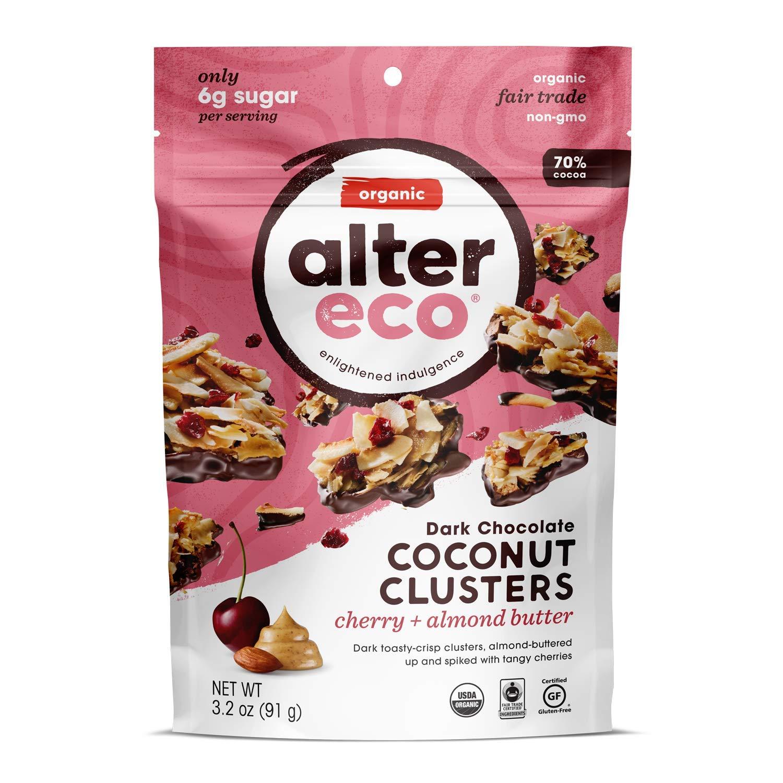 Alter Eco | Cherry and Almond Butter Coconut Clusters | 70% Pure Dark Cocoa, Fair Trade, Organic, Non-GMO, Gluten-Free Dark Chocolate Coconut Clusters, 12 Bags,3.2 OZ