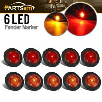 "Partsam 1-1/4"" Inch Grommet Mount Amber/Red LED Mini Marker Lights 6-2835SMD, Universal Waterproof Side Led Marker for Truck Boat SUV ATV Bike Trailer Marine(Pack of 10)"