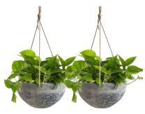 Hanging Planter Flower Plant Pots - 10 Inch Indoor Outdoor Balcony Patio Hanging Basket Set of 2, Marble Pattern
