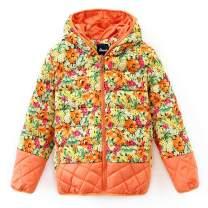 Hiheart Little Girls Hooded Down Winter Coat Floral Puffer Jacket