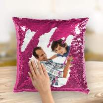 VEELU Custom Photo Sequin Pillow Cases - Pink Personalized Mermaid Magic Reversible Sequin Pillow with Picture Personalized Gifts Home Decorative Cushion Cover