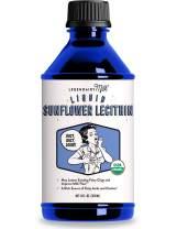 Legendairy Milk® Organic Liquid Sunflower Lecithin - 12 fl. oz. - Certified Organic, Vegan, Gluten Free, Halal, Kosher and Non-GMO Project Verified