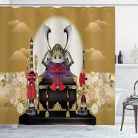 """Ambesonne Japanese Shower Curtain, Antique OrnamentalBox of Archer with Gear and Arrows with Flowersat Sunset, Cloth Fabric Bathroom Decor Set with Hooks, 75"""" Long, Yellow Black"""