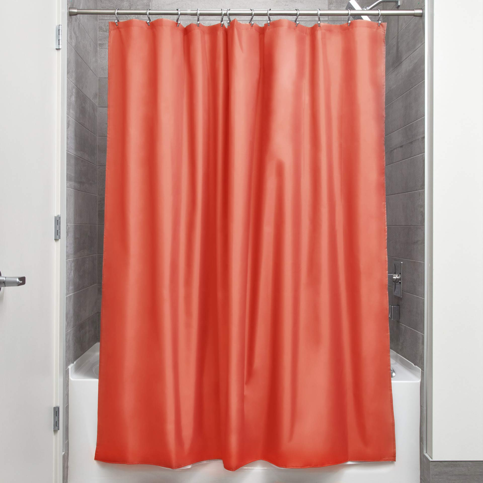 """iDesign Fabric Shower Curtain, Water-Repellent and Mold- and Mildew-Resistant Liner for Master, Guest, Kid's, College Dorm Bathroom, 72"""" x 72"""" - Orange"""