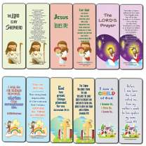Christian Bookmarks Cards for Kids (12-Pack) - Scripture Bible Verses - Psalm 23 - Great Stocking Stuffers for Easter Baptism Thanksgiving Christmas Sunday School - Prayer Cards - War Room Decor
