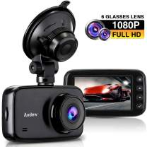 """Audew Dash Cam 1080P, Dashboard Camera Recorder for Car - 3.7"""" LCD Screen with 6 Glasses Lens, 150° Wide Angle, WDR, G-Sensor, Loop Recording, Motion Detection, Clear Night Vision"""