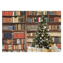 Funnytree 7x5ft Christmas Bookshelf Photography Backdrop Merry Xmas Bookcase Tree Rustic Background Library Book Racks Boy Girl Student Kids Teen Portrait Party Decor Banner Photo Booth Studio Props