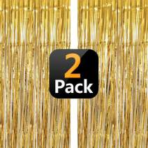 Gold Tinsel Foil Fringe Curtain Party Backdrop Decorations for Graduation Birthday Wedding Engagement Bridal Shower Baby Shower Bachelorette Holiday Celebration, Gold Photo Booth Props - 2 Packs
