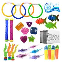 24 Pack Diving Pool Toys Swimming Training Toy Dive Summer Water Fun Toys for Pool Diving Rings Sticks Shark Underwater Sinking Glow Gem Treasures Swim Toys Games Gift Set for Kids Boys Girls Ages 3+