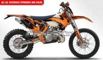 Kungfu Graphics Custom Decal Kit for 125 200 250 300 350 450 500 EXC EXC-F XCW XC-W XCF-W 2016, Black Orange